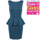 Teal Tailored Peplum Dress